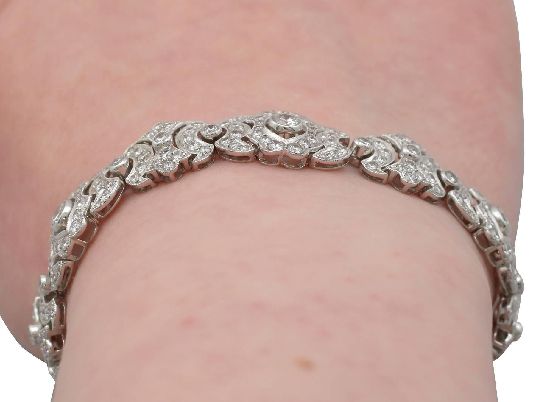 1980s 7.22 Carat Diamond and White Gold Bracelet For Sale at 1stdibs