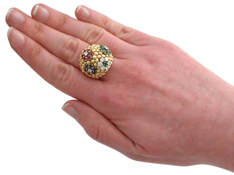 1980s Ruby Sapphire Emerald Diamond Yellow Gold Cocktail Ring For Sale 3