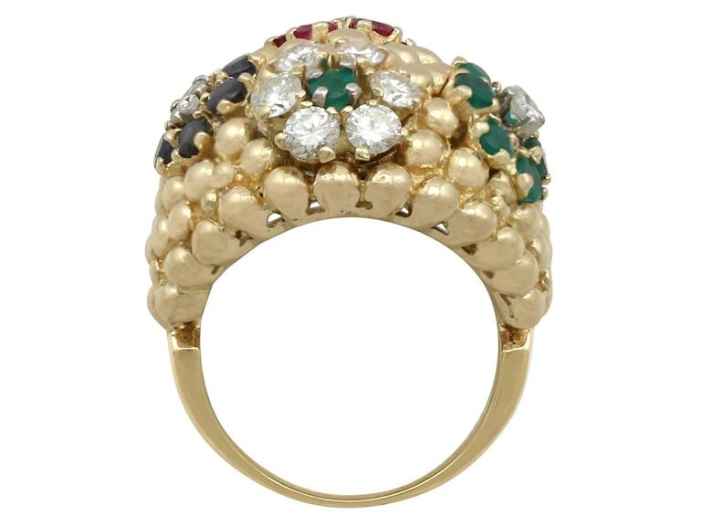 1980s Ruby Sapphire Emerald Diamond Yellow Gold Cocktail Ring For Sale 1