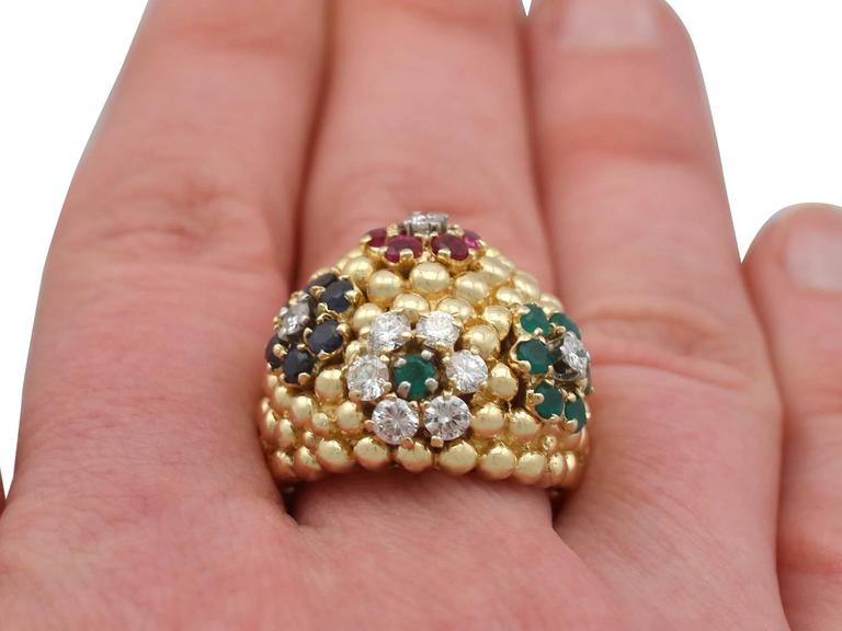 1980s Ruby Sapphire Emerald Diamond Yellow Gold Cocktail Ring For Sale 4