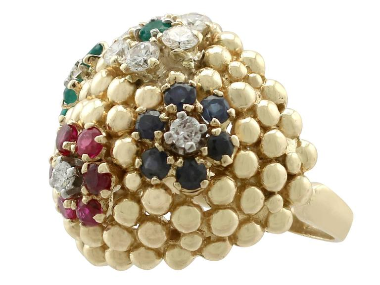 Women's 1980s Ruby Sapphire Emerald Diamond Yellow Gold Cocktail Ring For Sale
