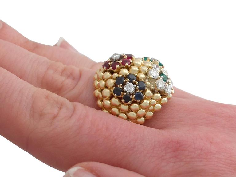 1980s Ruby Sapphire Emerald Diamond Yellow Gold Cocktail Ring For Sale 5