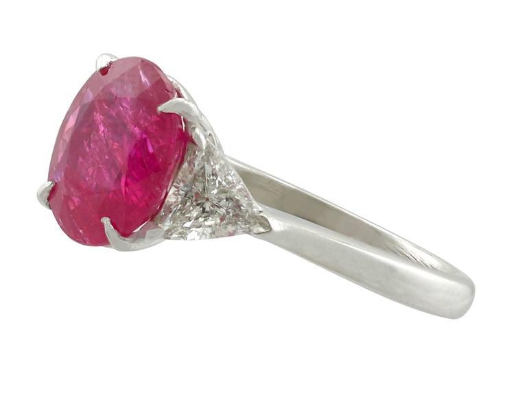 afe92b3ba60f1 3.38 Carat Burmese Ruby and 1.33 Carat Diamond Platinum Ring