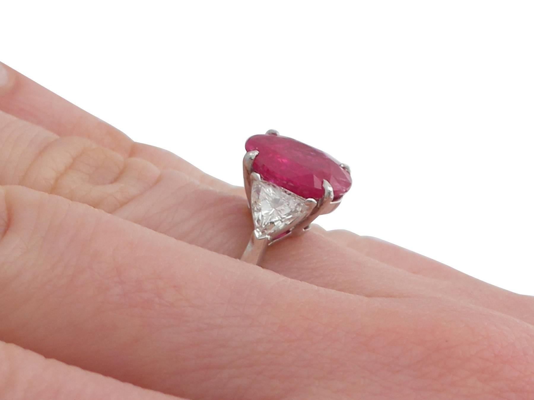 3.38 Carat Burmese Ruby and 1.33 Carat Diamond Platinum Ring at 1stdibs