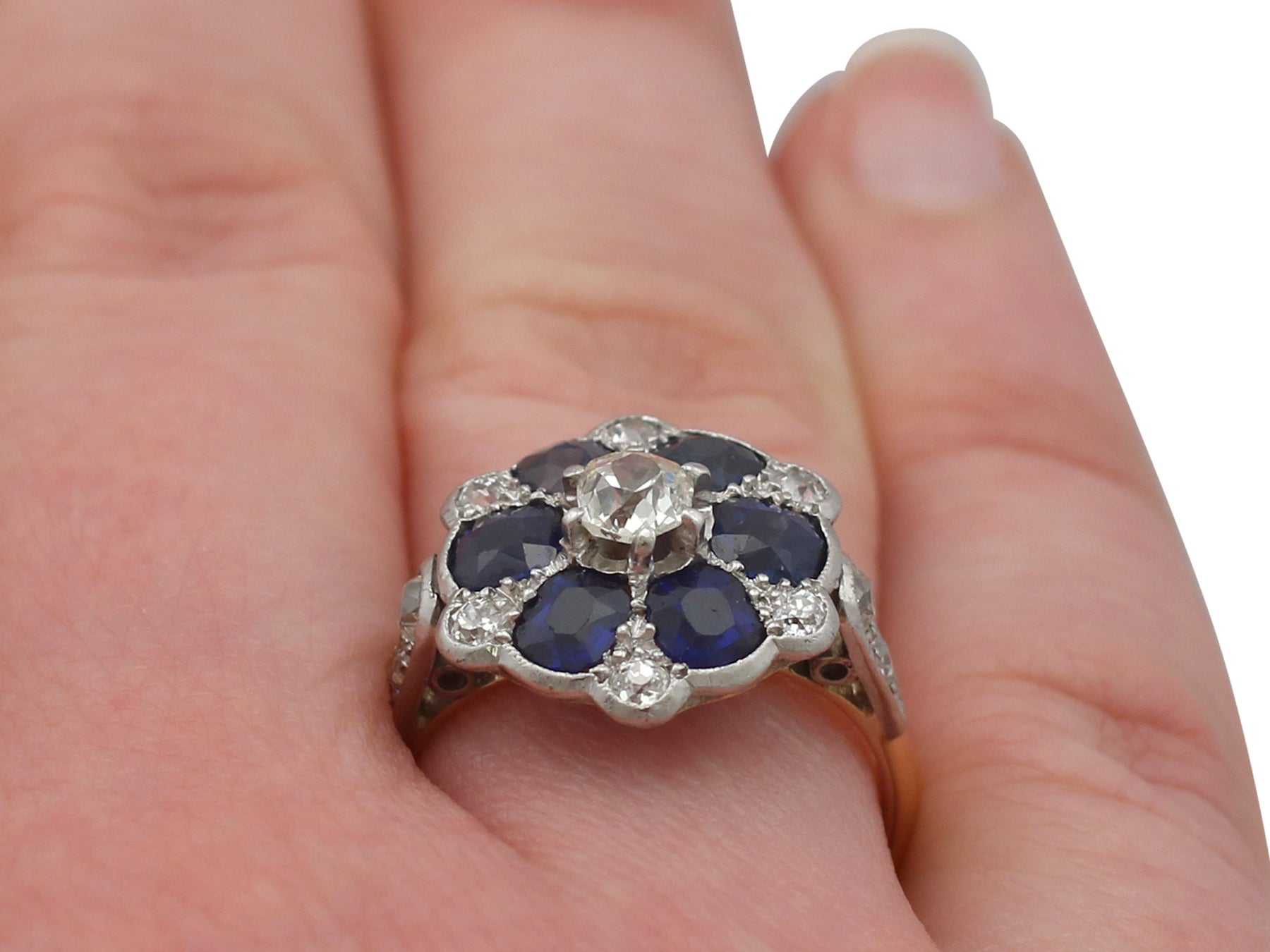 1910s Antique 1.38 Carat Sapphire and Diamond Yellow Gold Ring For ...