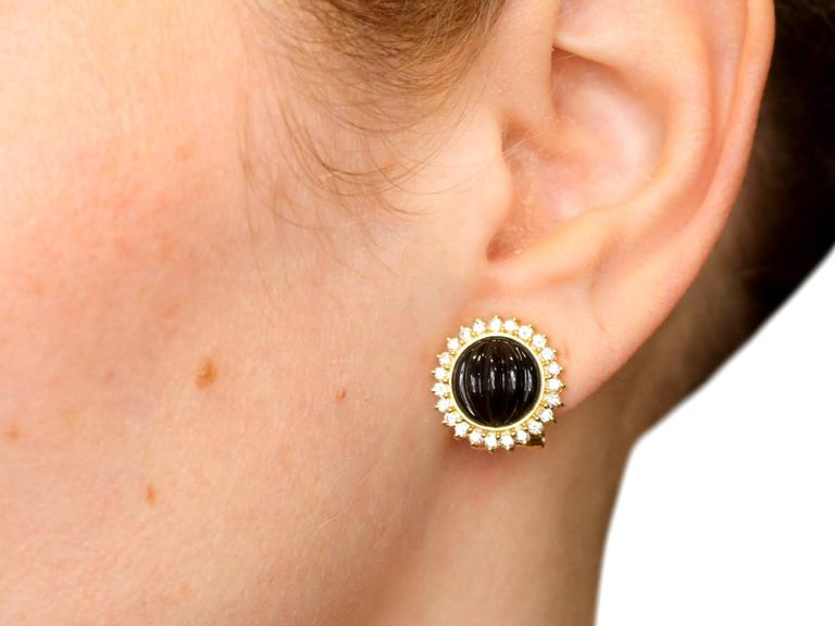 1970s Black Onyx Diamond Yellow Gold Earrings 9