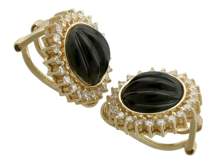 1970s Black Onyx Diamond Yellow Gold Earrings 3