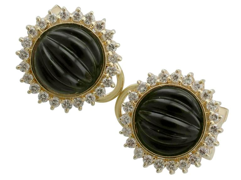 1970s Black Onyx Diamond Yellow Gold Earrings 2
