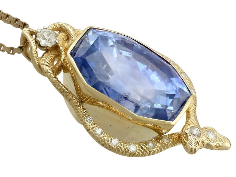 1950s 36.50 Carat Ceylon Sapphire and Diamond Yellow Gold Pendant 3