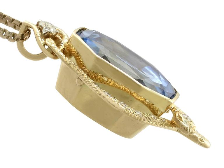 1950s 36.50 Carat Ceylon Sapphire and Diamond Yellow Gold Pendant 4