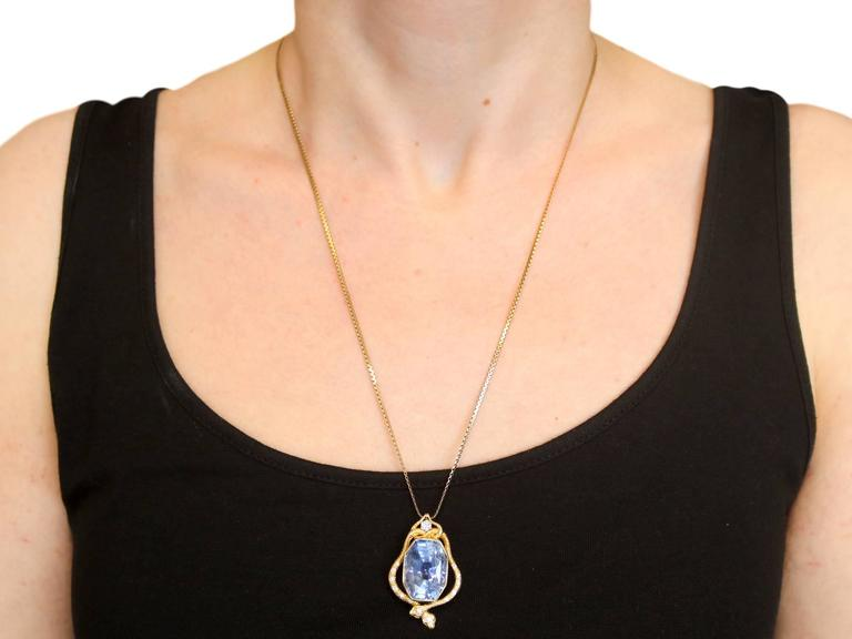 1950s 36.50 Carat Ceylon Sapphire and Diamond Yellow Gold Pendant 10