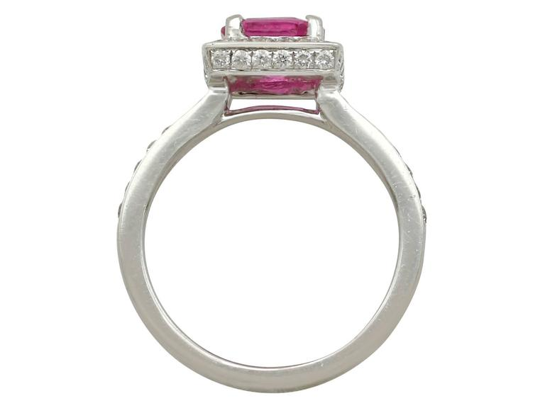 1990s 1.27 Carat Pink Sapphire and Diamond White Gold Cocktail Ring For Sale 1