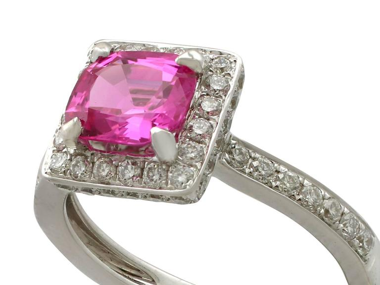 1990s 1.27 Carat Pink Sapphire and Diamond White Gold Cocktail Ring In Excellent Condition For Sale In Jesmond, Newcastle Upon Tyne