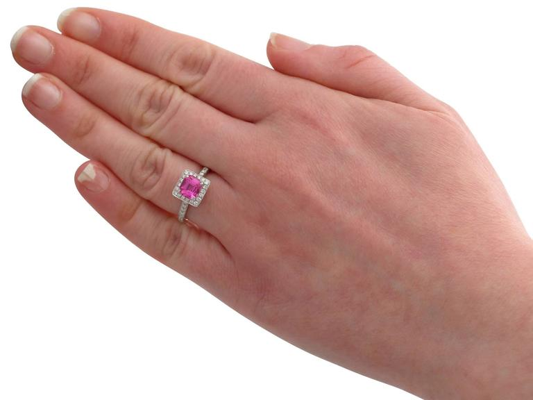 1990s 1.27 Carat Pink Sapphire and Diamond White Gold Cocktail Ring 6