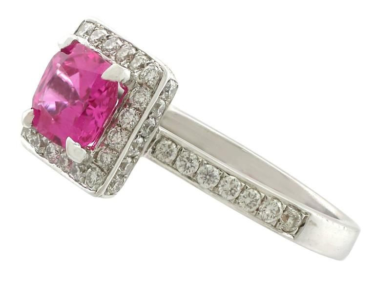 Women's 1990s 1.27 Carat Pink Sapphire and Diamond White Gold Cocktail Ring For Sale