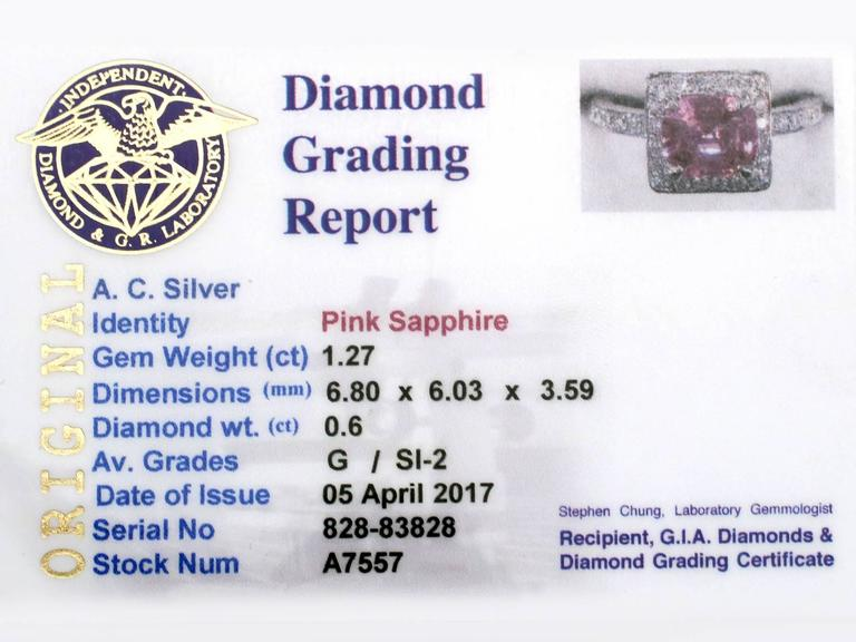 1990s 1.27 Carat Pink Sapphire and Diamond White Gold Cocktail Ring 7