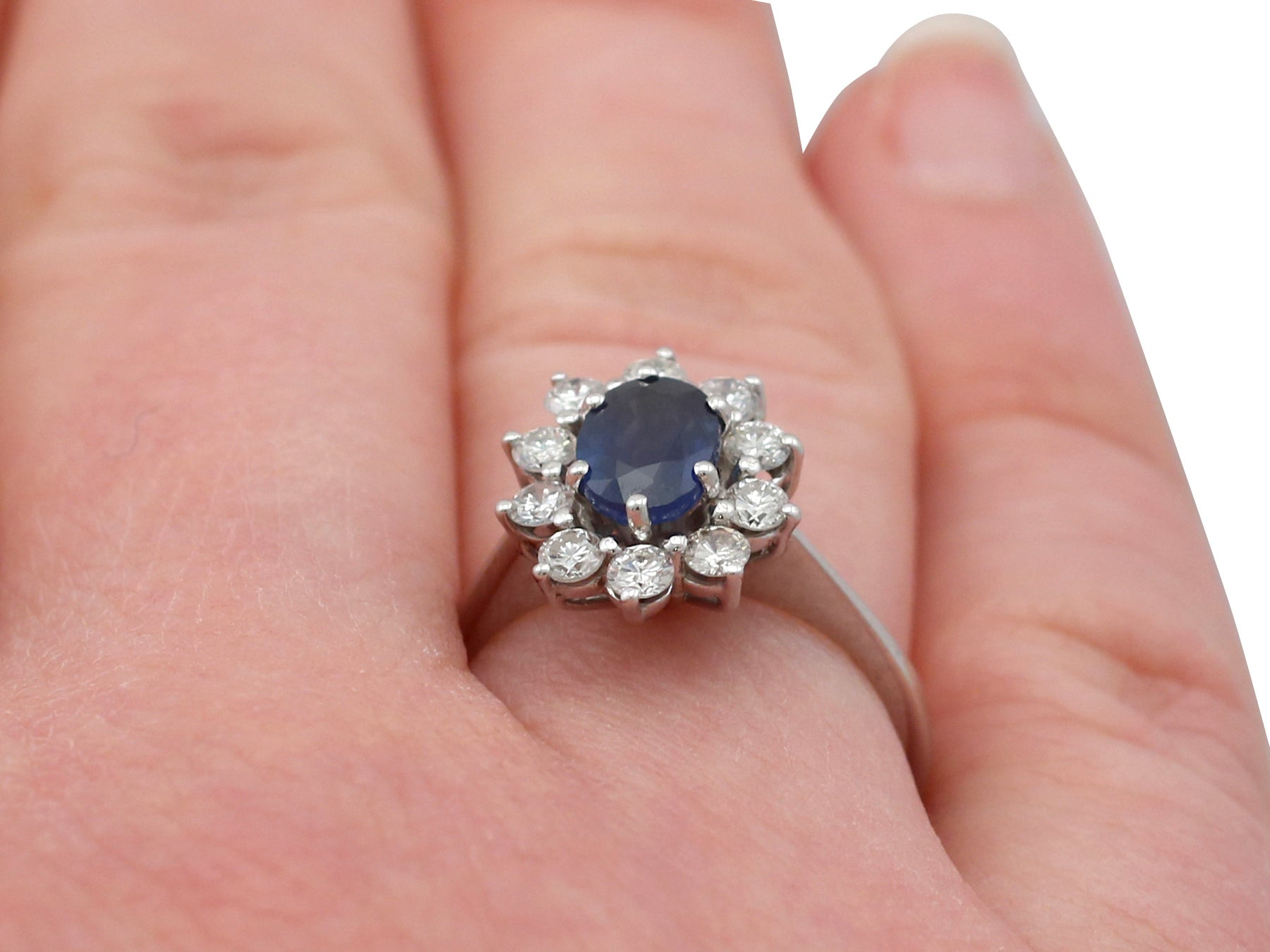 1.35 Carat Sapphire and Diamond White Gold Ring, 1930s For Sale at ...