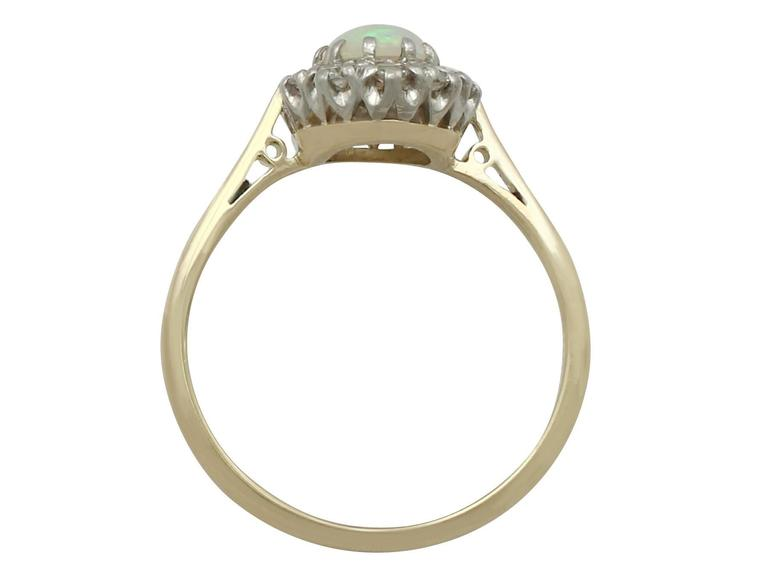 Antique Opal Diamond Yellow Gold Cluster Ring 5