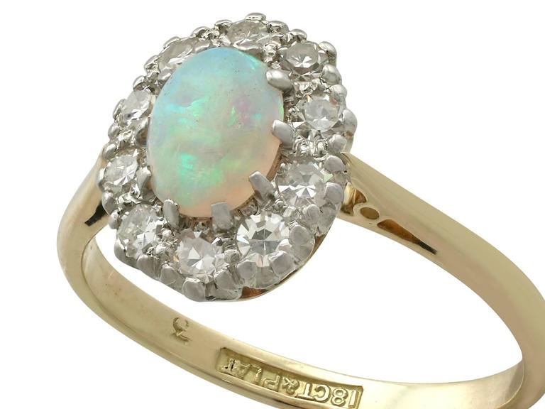 Antique Opal Diamond Yellow Gold Cluster Ring 3
