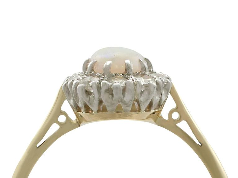 Antique Opal Diamond Yellow Gold Cluster Ring 2