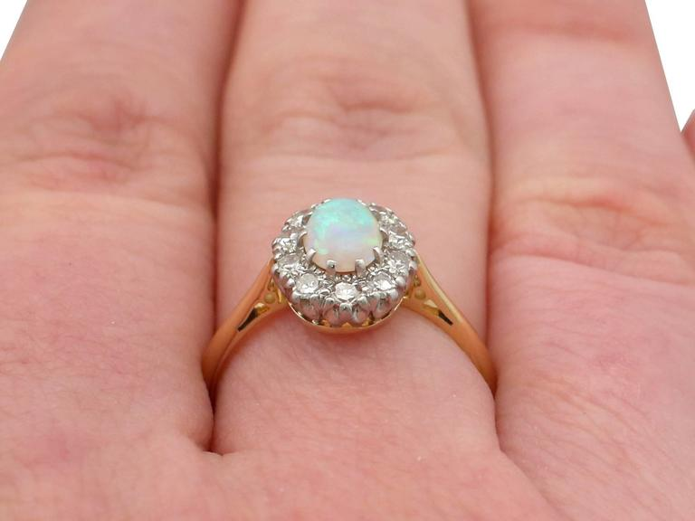 Antique Opal Diamond Yellow Gold Cluster Ring 9