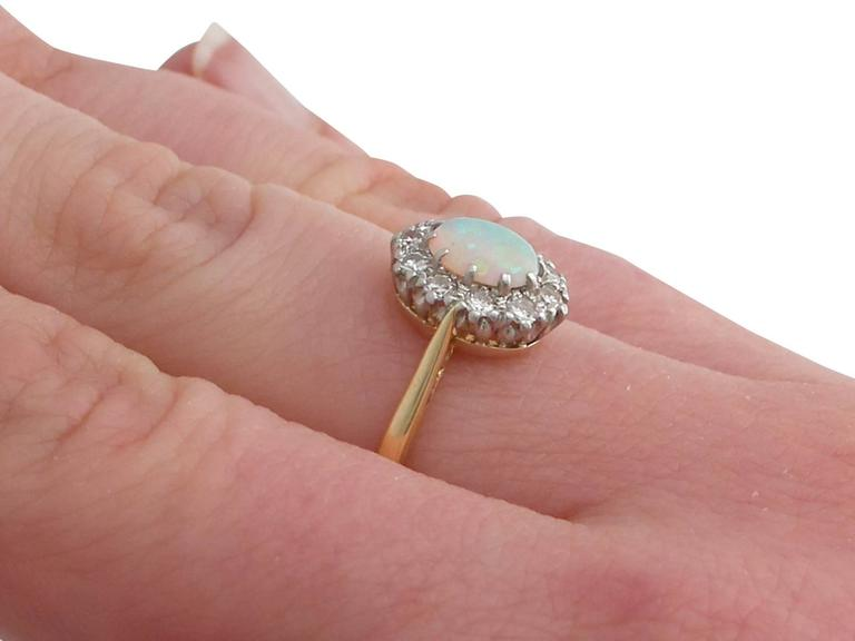 Antique Opal Diamond Yellow Gold Cluster Ring 8
