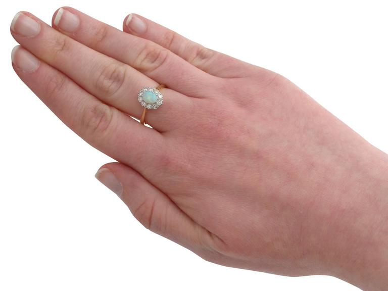 Antique Opal Diamond Yellow Gold Cluster Ring 7