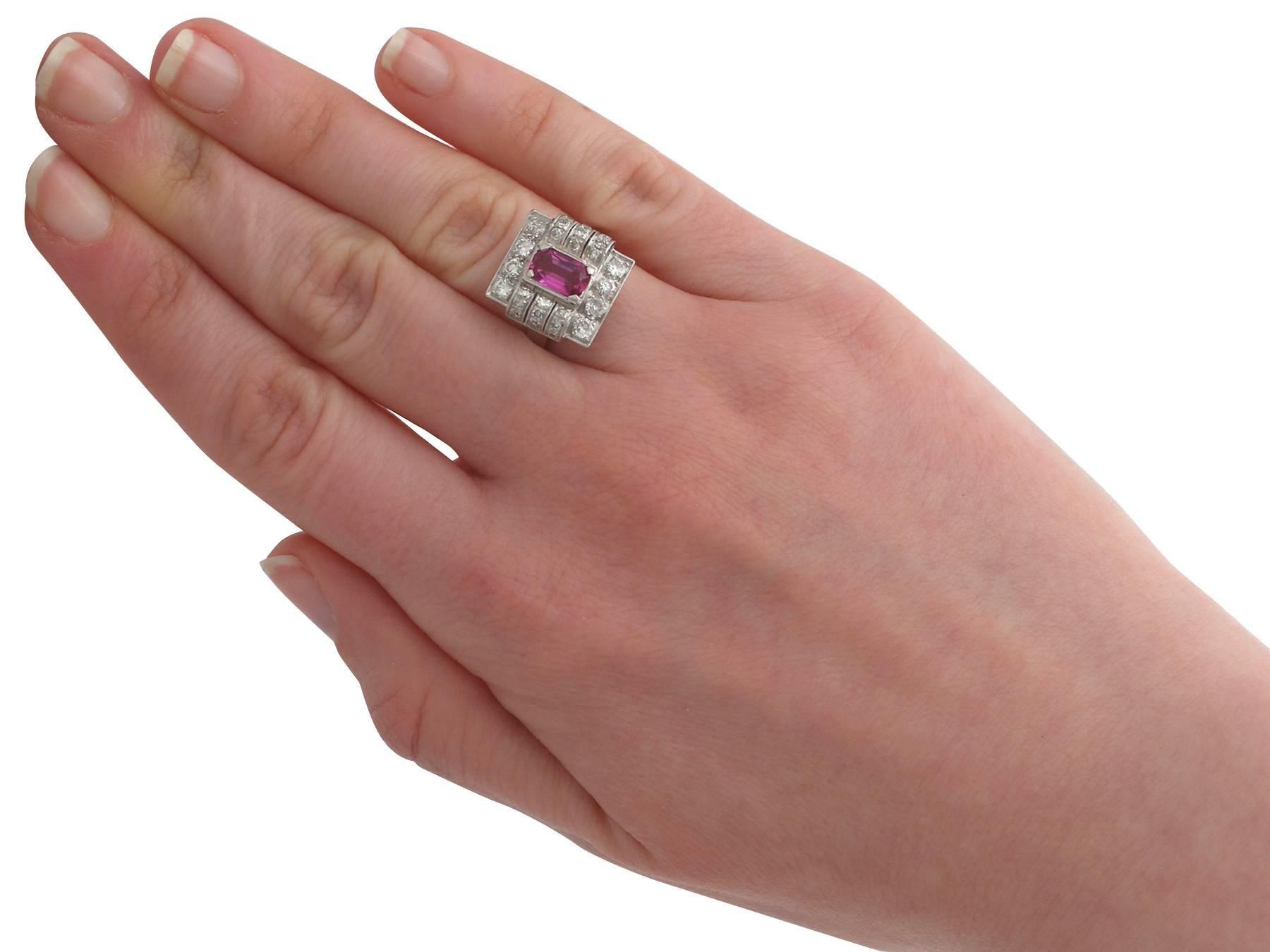 1950s 1.45 Carat Pink Sapphire Diamond White Gold and Platinum ...
