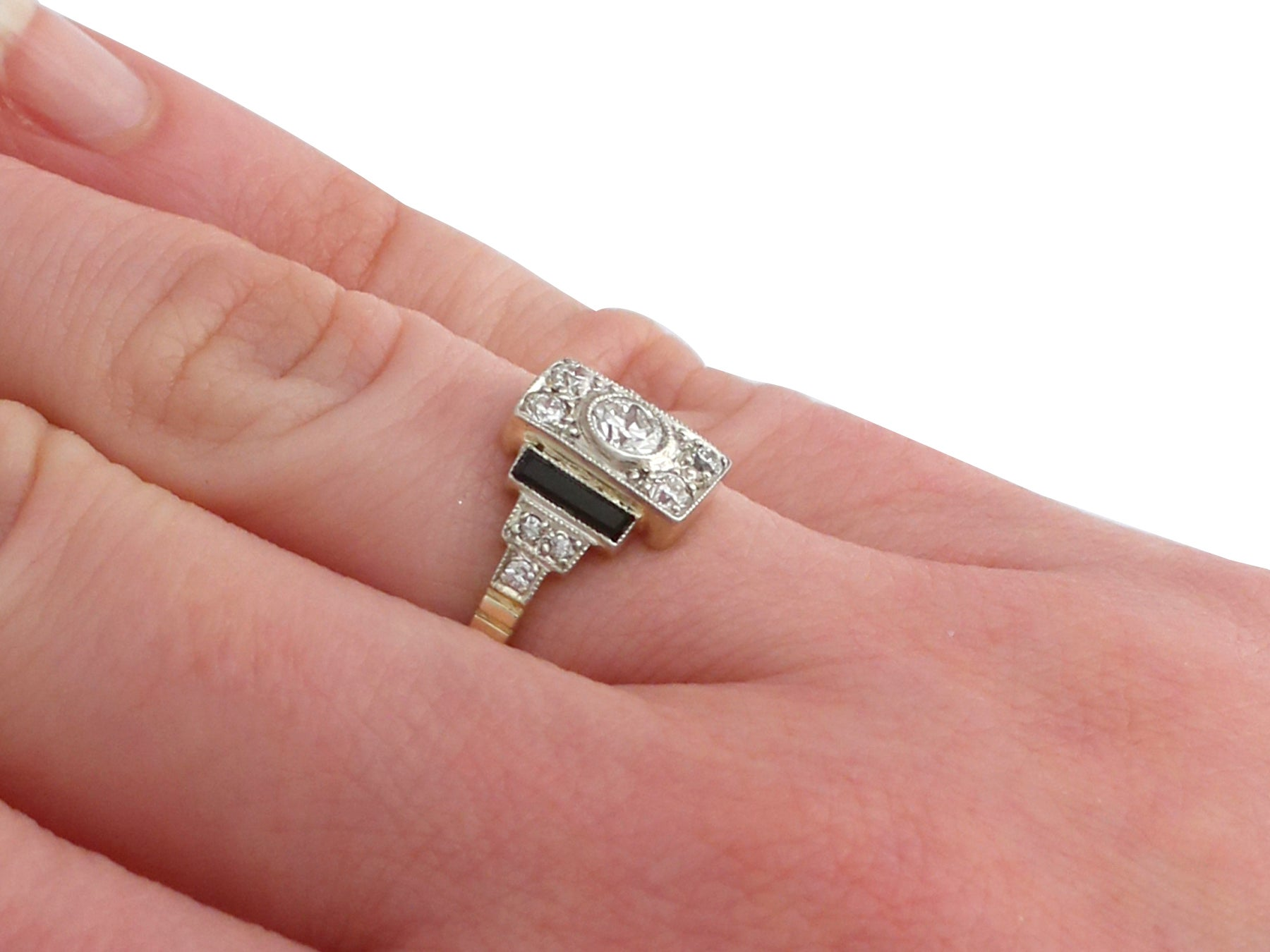 1920s Diamond and Black Onyx Yellow Gold Art Deco Ring at 1stdibs