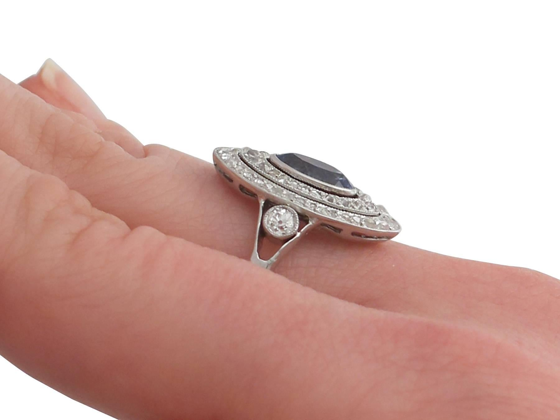 1910s Antique French Sapphire and Diamond White Gold Marquise Ring ...