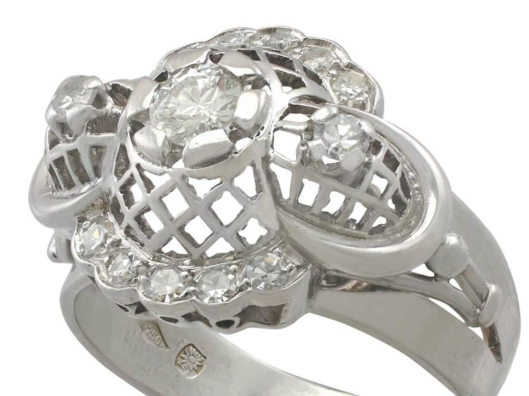 Retro 1940s Diamond and White Gold Cocktail Ring For Sale