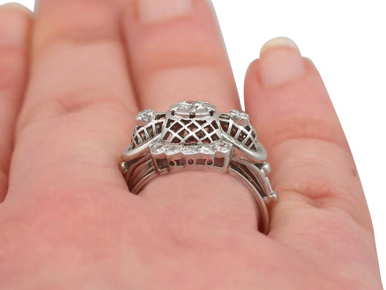 1940s Diamond and White Gold Cocktail Ring For Sale 3