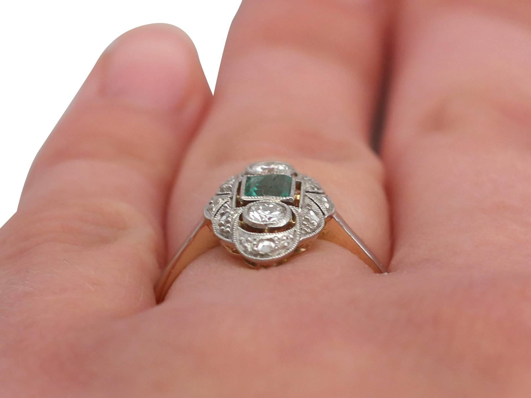 1940s Emerald Diamond Yellow Gold Marquise Ring For Sale at 1stdibs