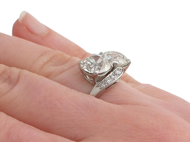 1950s 5.36 Carat Diamond and Platinum Twist Ring at 1stdibs
