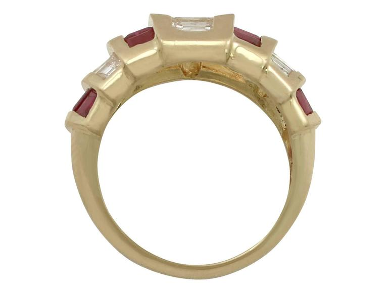 1950s Ruby and Diamond Yellow Gold Cocktail Ring In Excellent Condition For Sale In Jesmond, Newcastle Upon Tyne