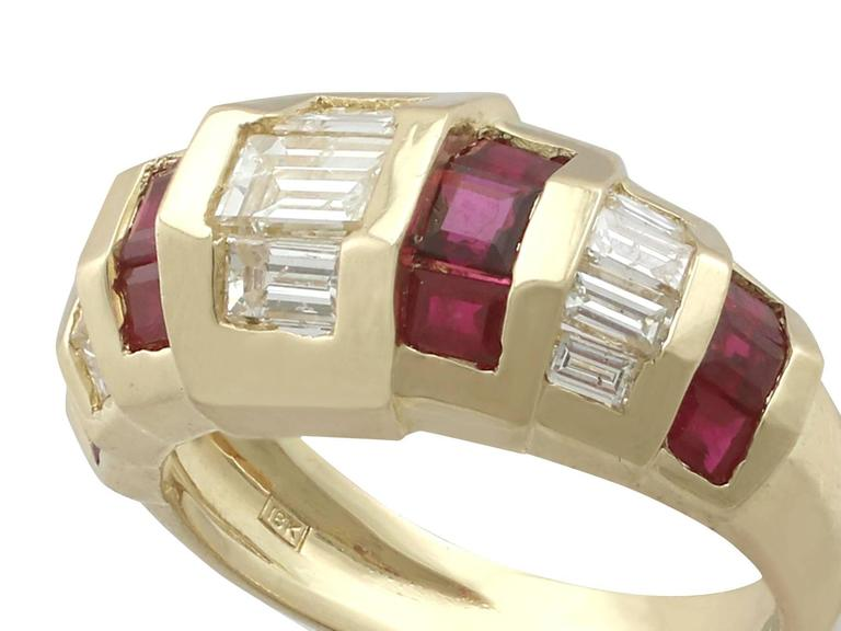 Art Deco 1950s Ruby and Diamond Yellow Gold Cocktail Ring For Sale