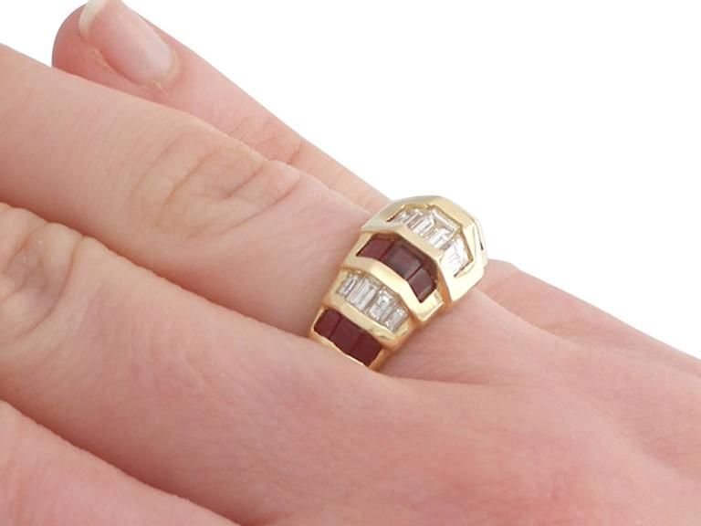 1950s Ruby and Diamond Yellow Gold Cocktail Ring For Sale 2
