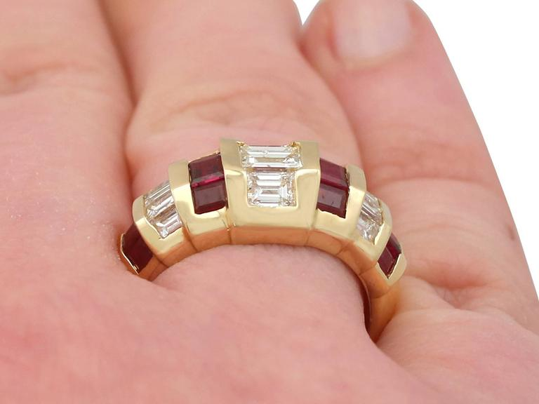 1950s Ruby and Diamond Yellow Gold Cocktail Ring For Sale 3