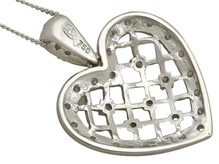 1960s Diamond White Gold Heart Pendant For Sale 1