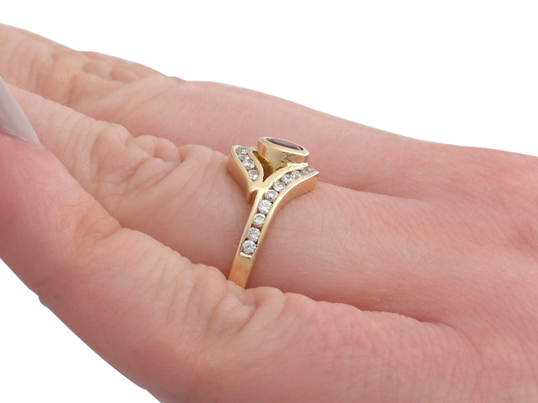 1980s Ruby and Diamond Yellow Gold Twist Ring For Sale at 1stdibs