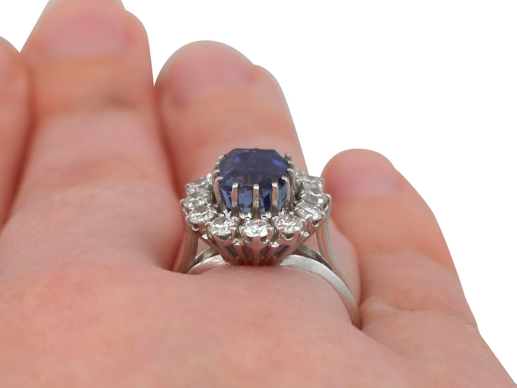 1970s Sapphire Diamond White Gold Cluster Ring For Sale at 1stdibs
