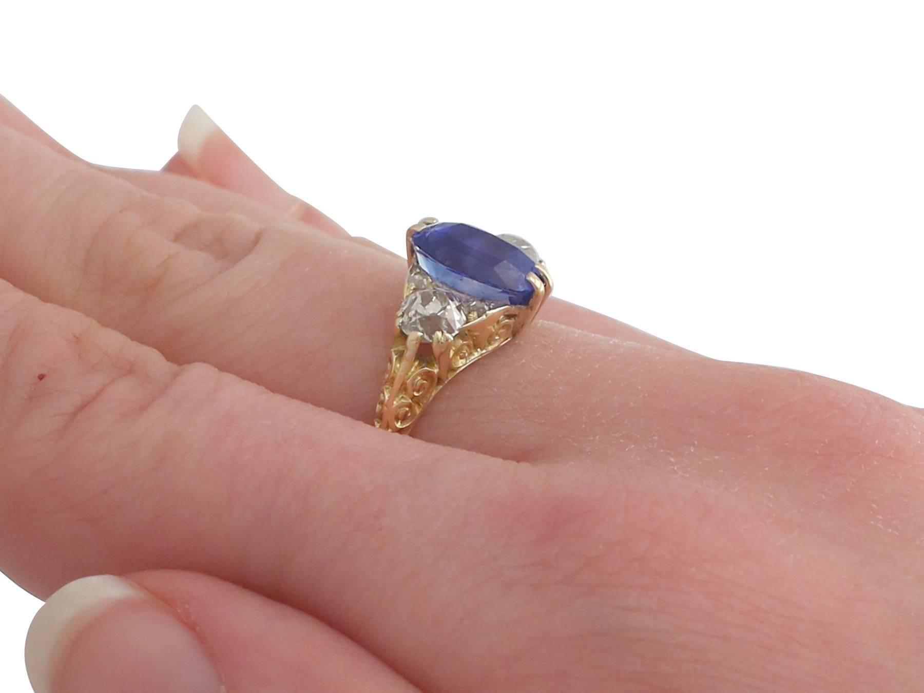 1890s Victorian 3.11 Carat Sapphire Diamond Yellow Gold Trilogy Ring ...