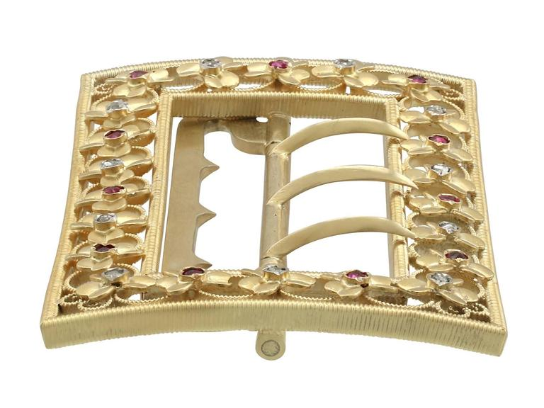 1860s Victorian Diamond and Ruby Yellow Gold Belt Buckle For Sale 1