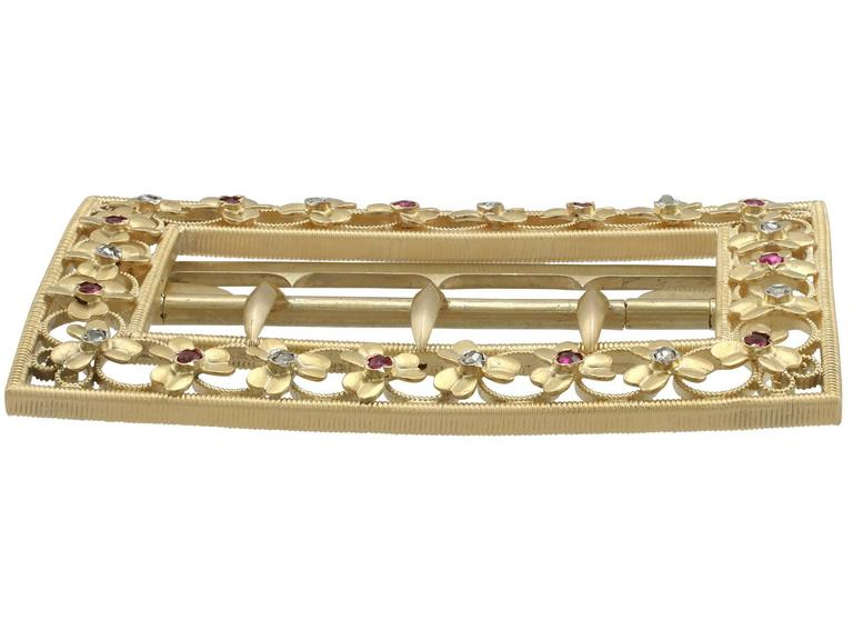Women's 1860s Victorian Diamond and Ruby Yellow Gold Belt Buckle For Sale