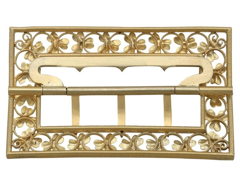 1860s Victorian Diamond and Ruby Yellow Gold Belt Buckle For Sale 3