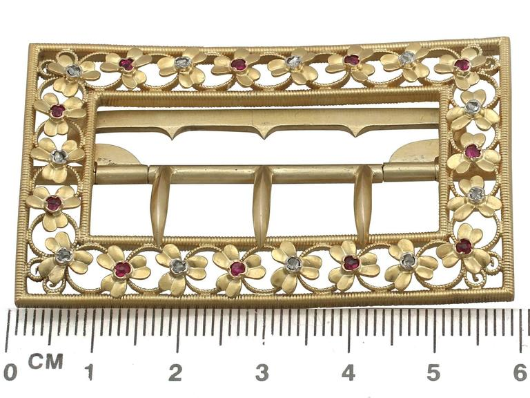 1860s Victorian Diamond and Ruby Yellow Gold Belt Buckle For Sale 4