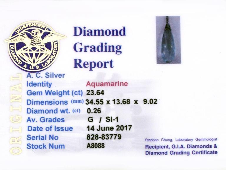 1920s Art Deco 23.64 Carat Aquamarine and Diamond Platinum Necklace For Sale 3