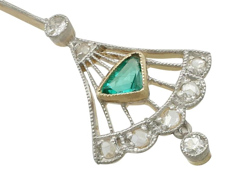 1920s Emerald and Diamond Yellow Gold Necklace 4