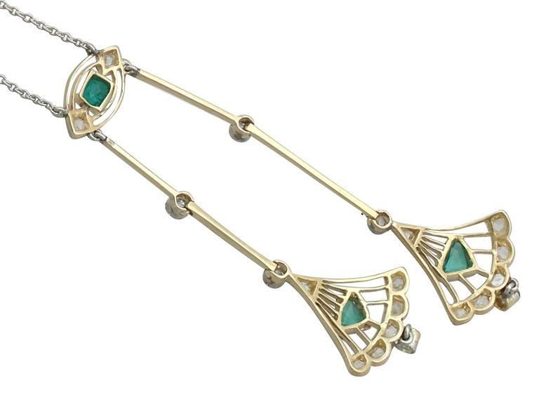 1920s Emerald and Diamond Yellow Gold Necklace 5