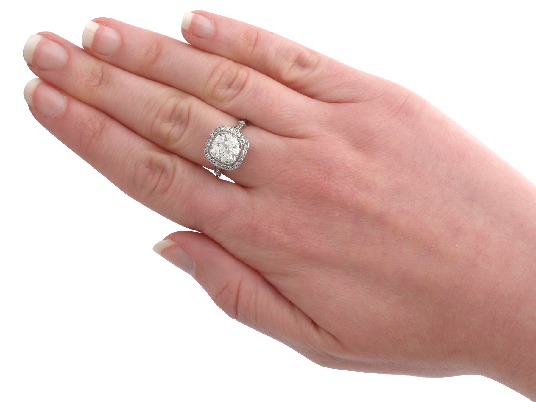 1900s 3.31 Carat Diamond and Platinum Halo Engagement Ring For Sale ...